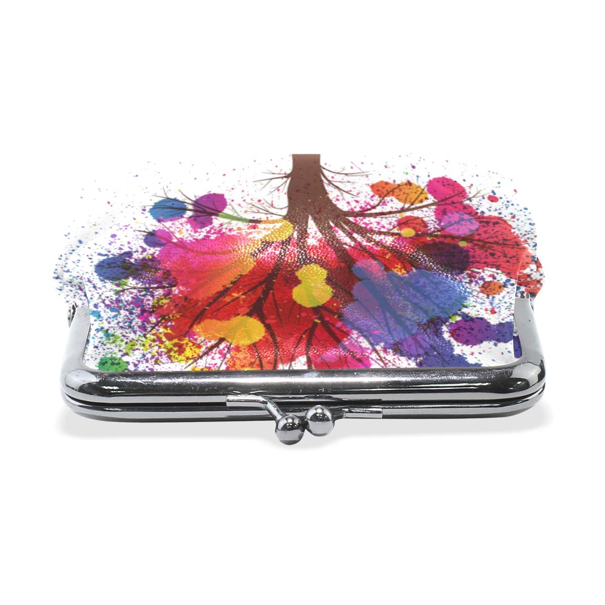 Fashion Womens Coin Purse Abstract Tree Branches Watercolor Vintage Pouch Kiss-lock Mini Purse Wallets