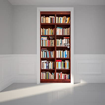 Door Wall Sticker Bookshelf