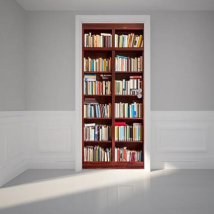 Door Wall Sticker Bookshelf   Self Adhesive Peel U0026 Stick Repositionable  Fabric Mural 31u0026quot;w X