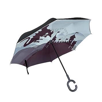 ISAOA Paraguas Grande invertido Paraguas Resistente al Viento Doble Capa Construcción reversa Plegable Paraguas para Coche