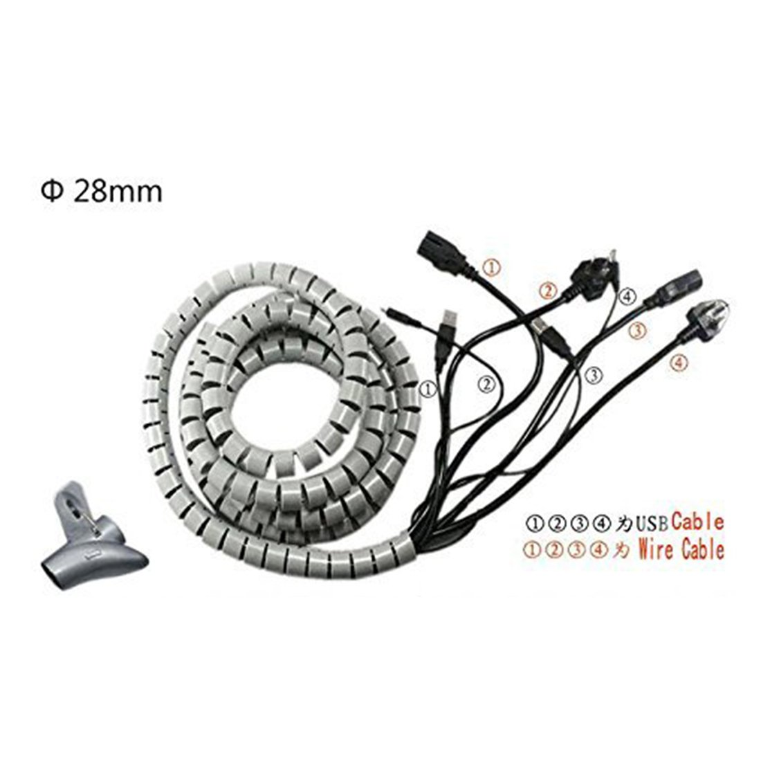 sourcingmap 15mm Flexible Cable Organizer Spiral Tube Cable Wire Wrap Computer Manage Cord White 3 Meters Length with Clip
