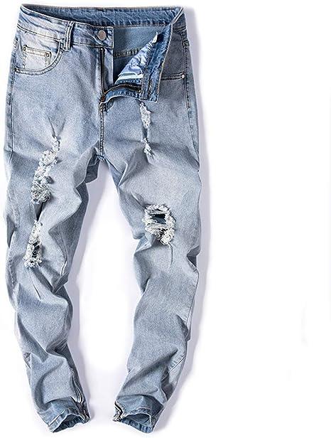 GZYD Jeans pour Hommes Taille Moyenne Pantalon élastique