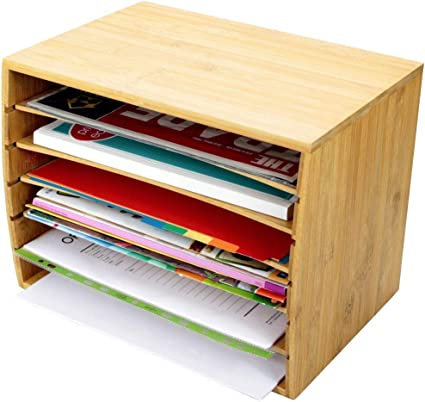 Trieur De Documents De Bureau En Bambou Document A4 Organiseur 5 Compartiments De Rangement Amazon Fr Fournitures De Bureau