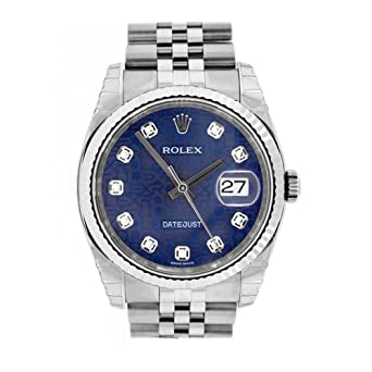 2e93c4118a5 Image Unavailable. Image not available for. Color  Rolex Datejust 36mm Blue  Diamonds Dial ...