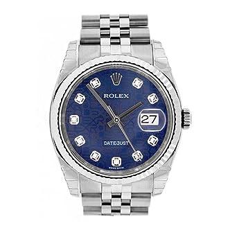 1b74d5a74d5 Amazon.com: Rolex Datejust 36mm Blue Diamonds Dial Stainless Steel ...