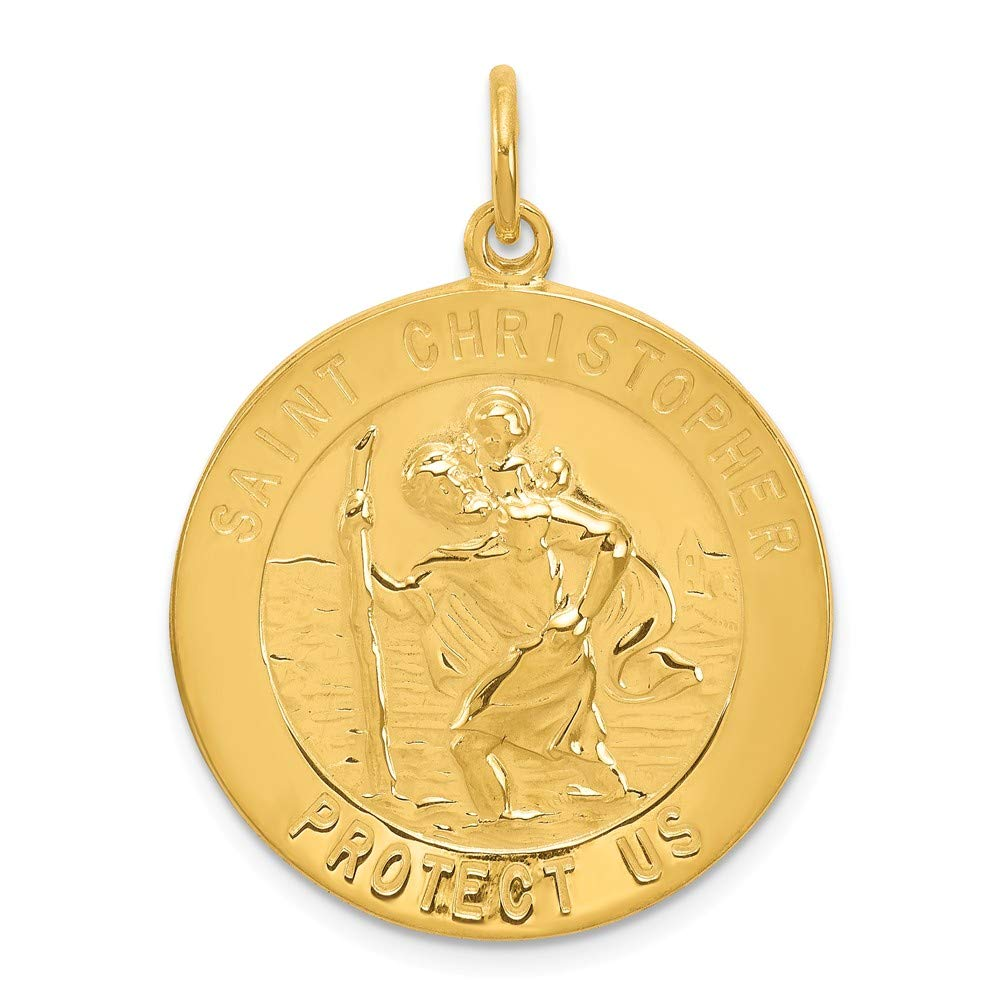 Sterling Silver Gold-St Christopher Medal Solid 20 mm 32 mm Themed Pendants /& Charms Jewelry