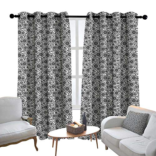 - Lewis Coleridge Blackout Lined Curtains Ethnic,Ornamental Paisley Motifs of Persian Folklore Monochrome Oriental Culture Pattern, Black White,Thermal Insulated,Grommet Curtain Panel Set of 2 52