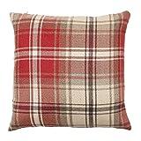McAlister Angus Farmhouse Plaid 26″ Decor Pillow Cover | Red 26×26 Euro Sham Case | Heavy Linen Woven Texture | Striped Primitive Rustic Cabin Accent Review