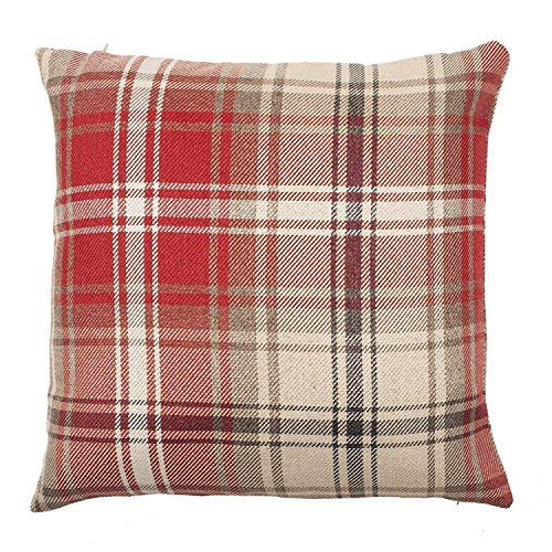 McAlister Angus Farmhouse Plaid 26″ Decor Pillow Cover | Red 26×26 Euro Sham Case | Heavy Linen Woven Texture | Striped Primitive Rustic Cabin Accent Review