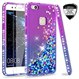 LeYi Case for Huawei P10 Lite with Glass Screen Protector [2 pack], Glitter Liquid Flow Luxury Clear Transparent Diamond Personalised TPU Silicone Shockproof Cover Huawei P10 Lite (2017) Purple Blue