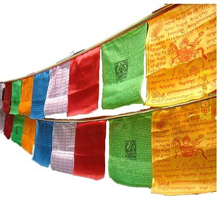 dollbling tibetano budista oración bandera seda color Print 3,5 metros 10 pcs/cuerda