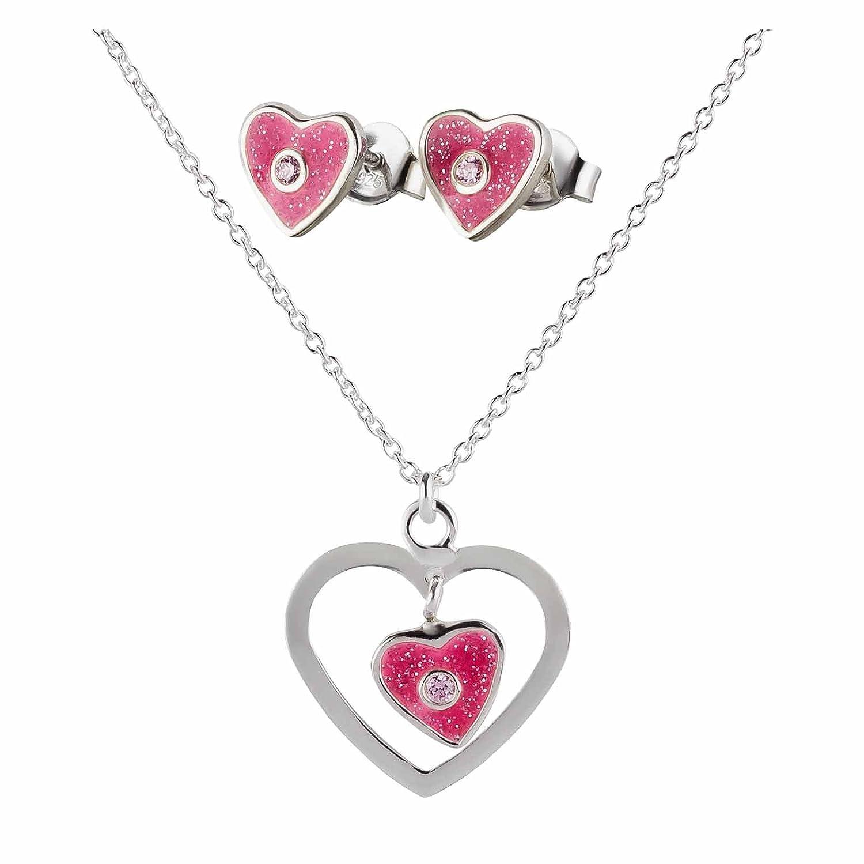Unbekannt SL-Silver Set Kette Ohrringe Anhänger pinkes Herz mit Kristall Glitzer 925 Silber in Geschenkbox set93