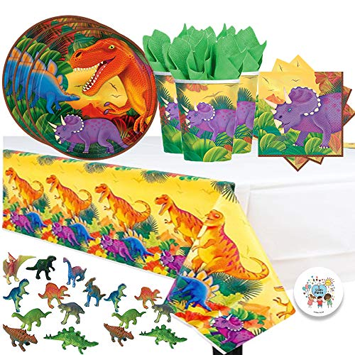 Another Dream Dinosaur Prehistoric Themed Party Pack for 16 with Plates, Napkins, Cups, Tablecover, and Dinosaur Figurines! -