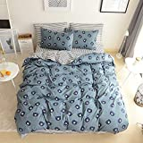 VClife Cotton Duvet Cover Sets Twin-1 Duvet Cover 2 Pillowcase-Boys Cute Bear Pattern Bedding Sets for All Season, Stripe Reversible Design, Comforter Cover Sets with Zipper Closure, 68'' x 86'', Twin