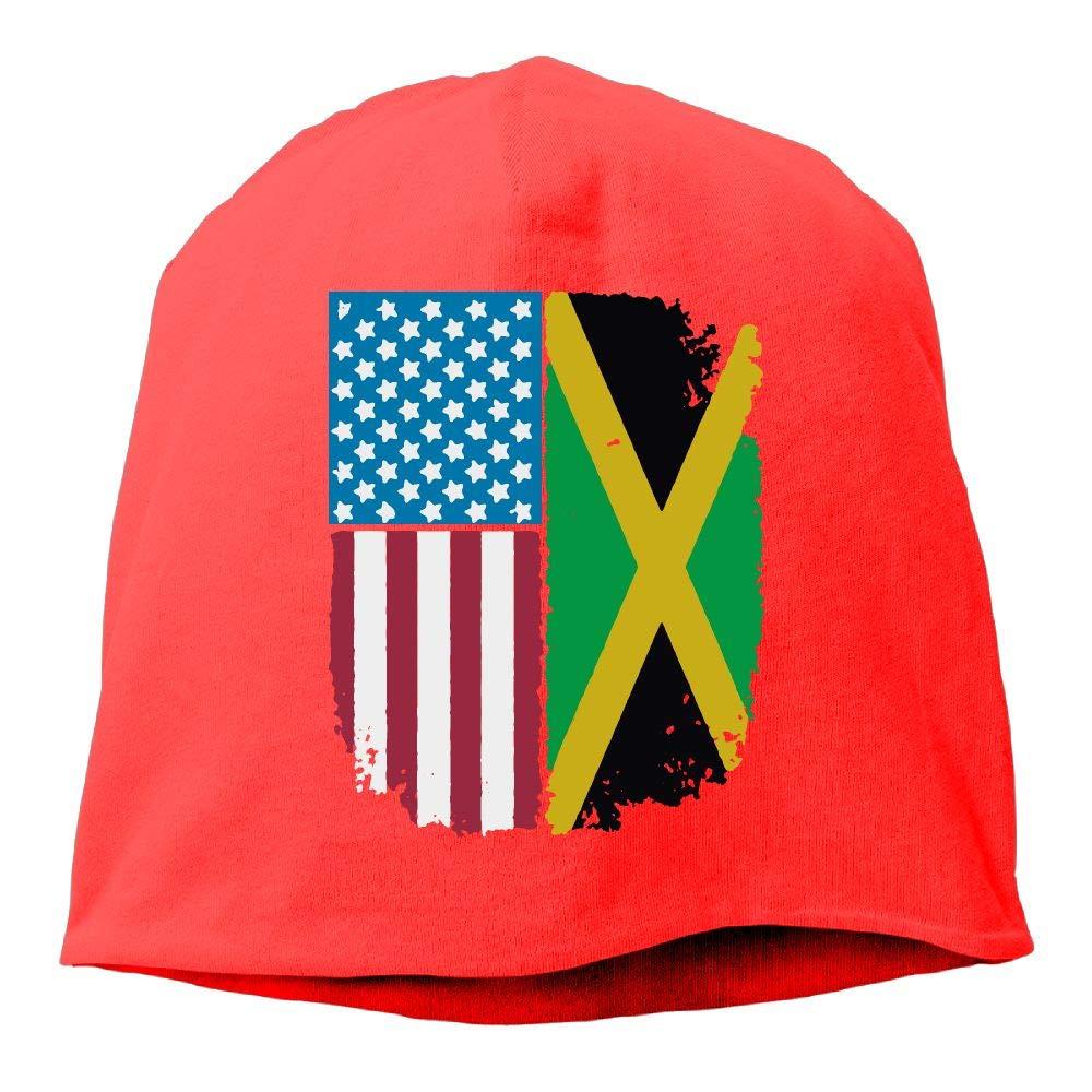 Jamaican American Flag Jamaica USA Men Women Winter Helmet Liner Fleece Skull Cap Beanie Hat for Snowboarding Ash