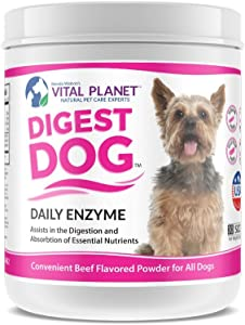 Vital Planet Digest Dog - Digestive Support for Dogs - Powerful Digestive Enzyme Blend for Dogs - 111 Grams 30 Scoops