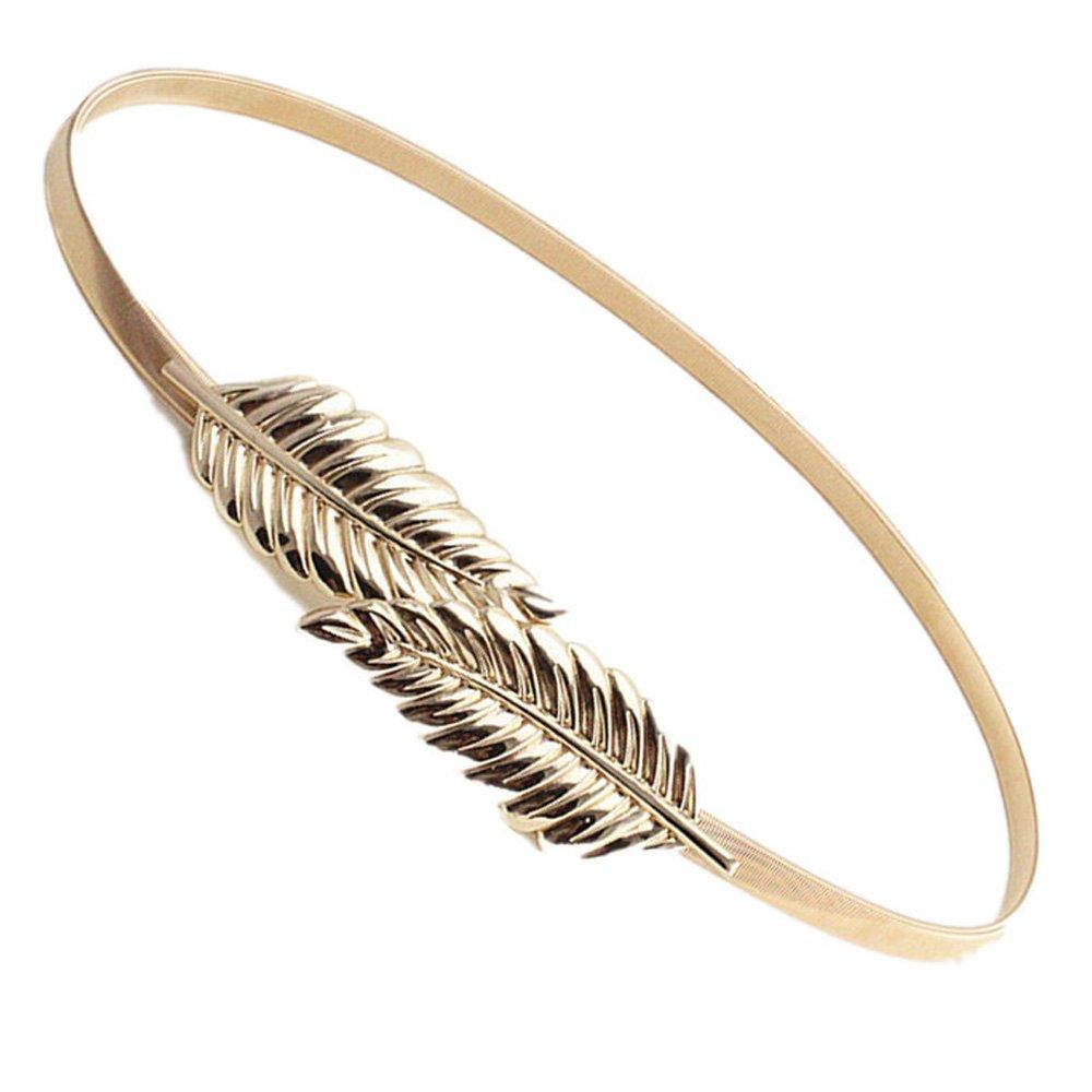 Ouinne 2 Piezas Cinturón de Mujers Elástico de Mujeres Cinturón de Hoja  Metal Correa de Cintura Diseño de la Hoja (Oro y Plata)  Amazon.es  Ropa y  ... e3dc626100fb