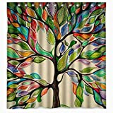 Tree Shower Curtain Colorful Big Tree Shower Curtain Bath -Tree of Life Fabric Waterproof Digital Printing Polyester YIGER with Adjustable Hook 70.86×70.86 Inch