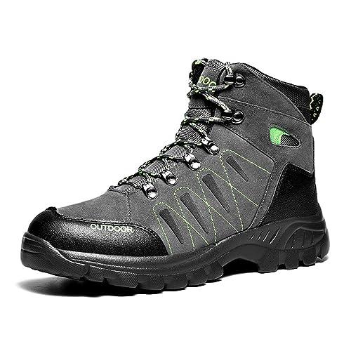 Hombres Botas para Caminar Zapatos de Escalada de Piel al Aire Libre de Invierno High-Top de Gran tamaño Zapatillas de Deporte de montaña para Hombre ...