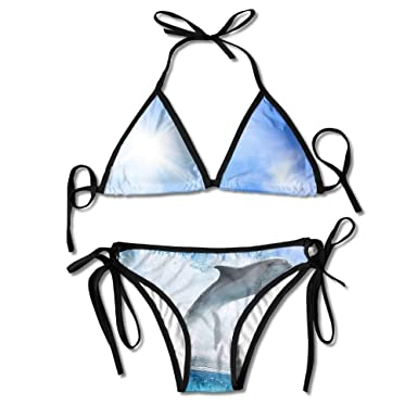 Amazon.com: laiue mar Wave delfín mujer brasileño Bikini ...