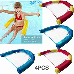 Kihamp Floating Pool Chair - 4 Packs,Pool Noodle Chair for Kids and Adult,Noodle Sling,Kids Awesome Noodle Pool Toy,Sling Mesh Chair for Pool Noodles,Mesh Sear,Swimming Pool Noodle Floats