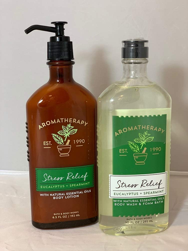 Bath and Body Works Eucalyptus Spearmint Stress Relief Lotion and Wash 2 Piece Set : Beauty