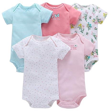 5351458880cee Body Bébé Fille Lot de 5 Barboteuse Vêtements à Manches Courtes Pyjama  Coton Coton D