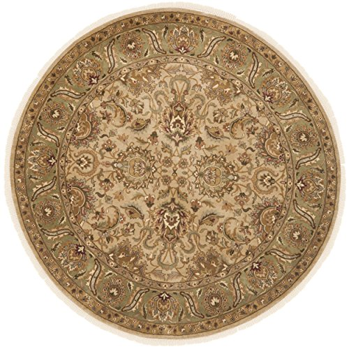 Safavieh Dynasty Collection DY207B Hand-Knotted Beige and Green Premium Wool Round Area Rug (8' Diameter) - Dynasty Collection Area Rug