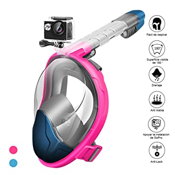 StillCool Máscara de Buceo para Snorkel Plegable Panorámica Cara 180° Máscara de Snorkel con GoPro - Respiración Fácil Impermeable Antivaho A Prueba ...