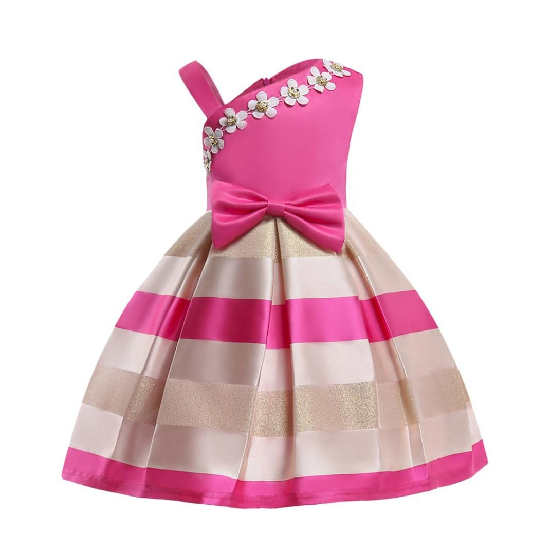 Yuxing Girls Bow-Knot A-Line Flowers Striped Birthday Party Sleeveless Dresses (Hot Pink, 7T/7 Years Old)