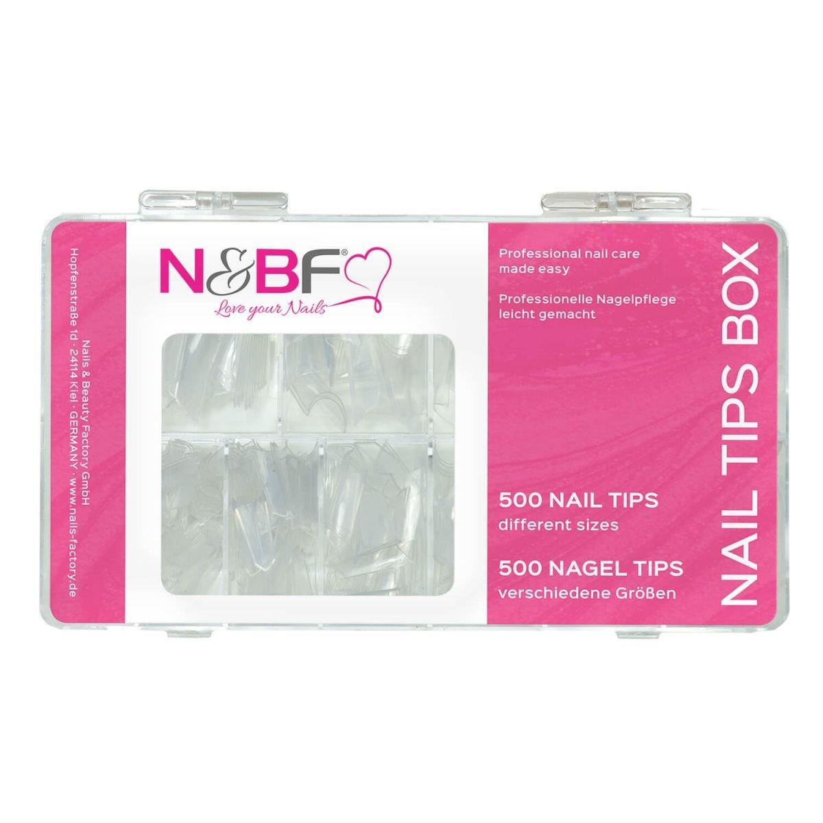 N&BF Edge Nagel Tips clear Sortierbox 500 Stück für Gelnägel & Nagellack - Deko Schmuck & Nageldesign Accessories Nail Art Kunstnägel Nageltips Nail Extension 10 Größen für Ihr Nageldesign NAILS FACTORY