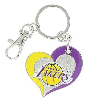 NBA Los Angeles Lakers equipo color Swirl corazón llavero ...