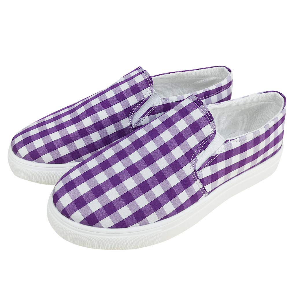 Yiwanjia ◕ˇ∀ˇ◕ Women's Vintage grids Loafers Round Toe Shoes Light Jogging Sneakers Casual Walking Shoes (US:7.5,Purple) by Yiwanjia-Shoes