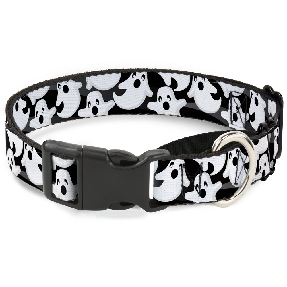 Buckle-Down Ghosts Scattered Black White Martingale Dog Collar, 1.5  Wide-Fits 13-18  Neck-Small