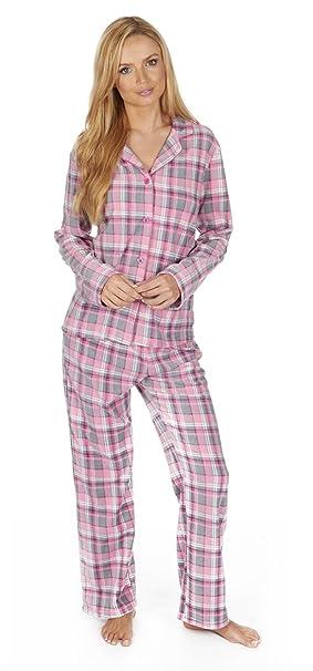 Pijama con botones de microfelpa unida Ladies Gift. Cuadro color rosa o búho azul. En tallas S, M, L, XL: Amazon.es: Ropa y accesorios