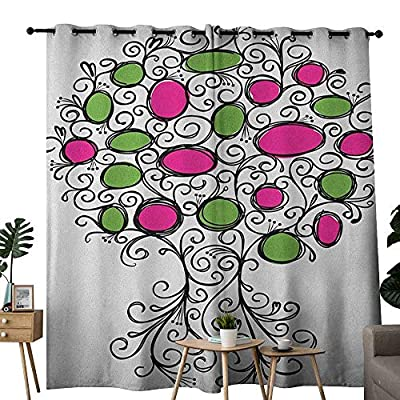NUOMANAN Curtains for Bedroom Tree of Life,Ornate Tree with Curving Roots and Branches Colored Fruits Growing Home, Pink Green Black Curtain Panels for Bedroom & Kitchen,1 Pair