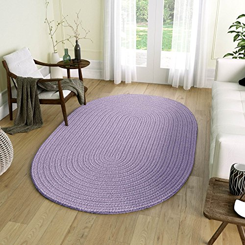 (Super Area Rugs, Tropics Indoor/Outdoor Braided Reversible Area Rug, 4' x 4' Round, Solid Amethyst Purple)