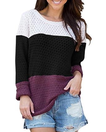 63dea7b41 Saodimallsu Womens Oversized Color Block Long Sleeve Sweaters Casual ...