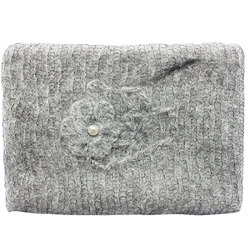 iEFiEL Newborn Baby Photography Prop Mohair Crochet Knit Wrap Blanket with Flower Headdress Headband (Gray)