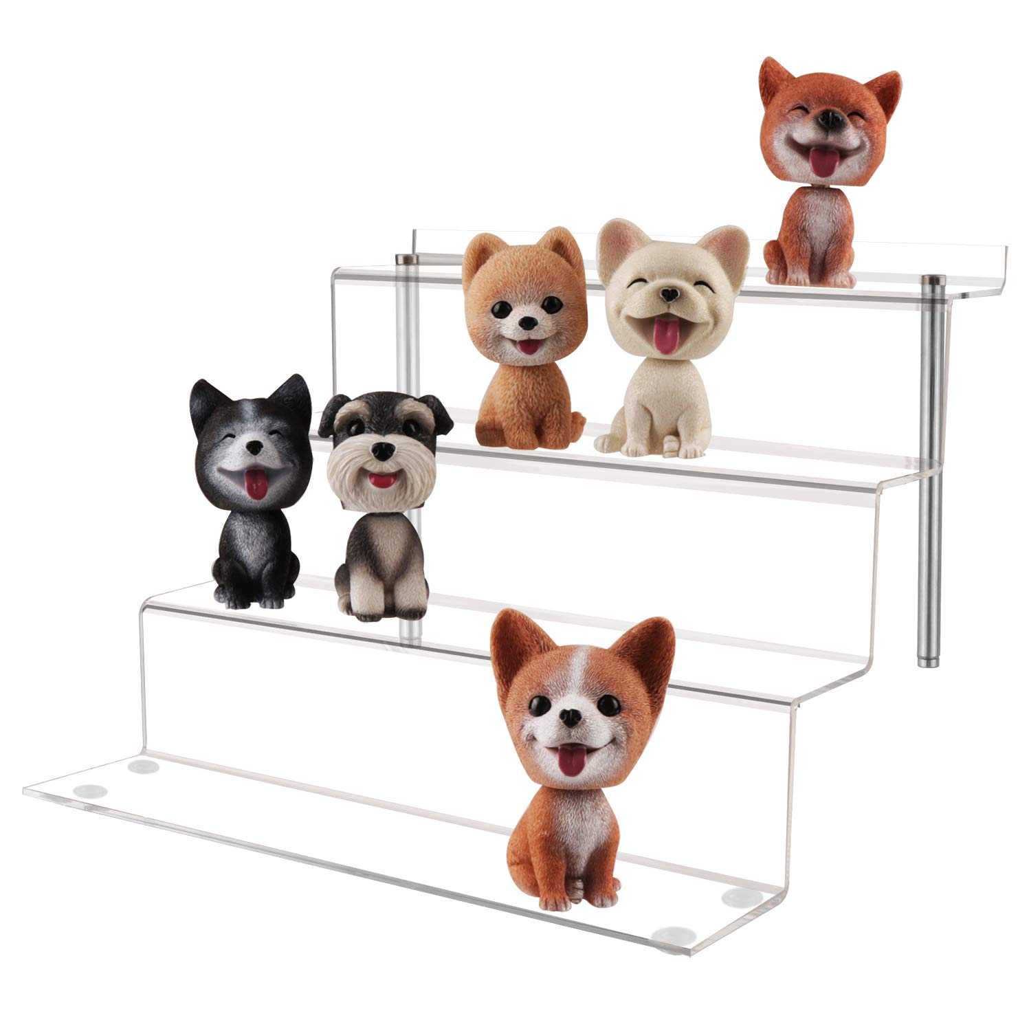 UPGRADED Large 4 Step Display Riser Shelf for Cupcake Dessert Product 12x11x8.8 Inch LileZbox Acrylic Display Stand for Funko Pops Amiibo Figures 2 Pack