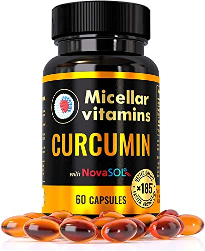 Micellar Curcumin Dietary Supplement 185 Times Better bioavailability NovaSOL Technology Natural Turmeric 60 Capsule