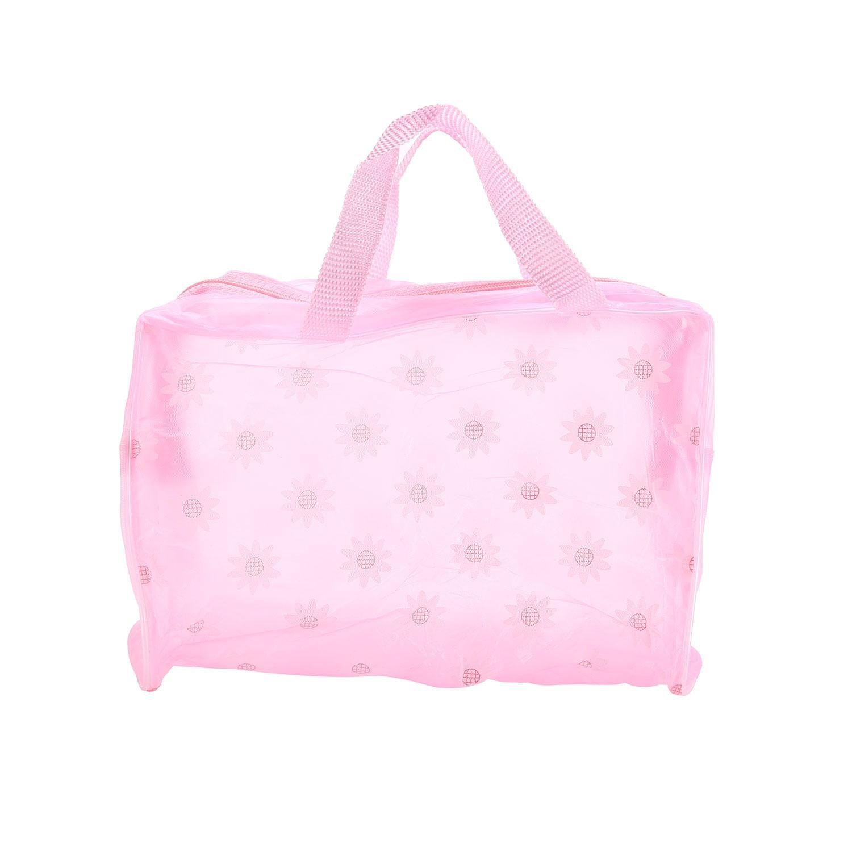 Pawaka Women Makeup Bag Portable Waterproof Pink Flower Pattern Plastic Cosmetic Bag with Handle Toiletry Organizer for Traveling Business Trip and School Pawaca