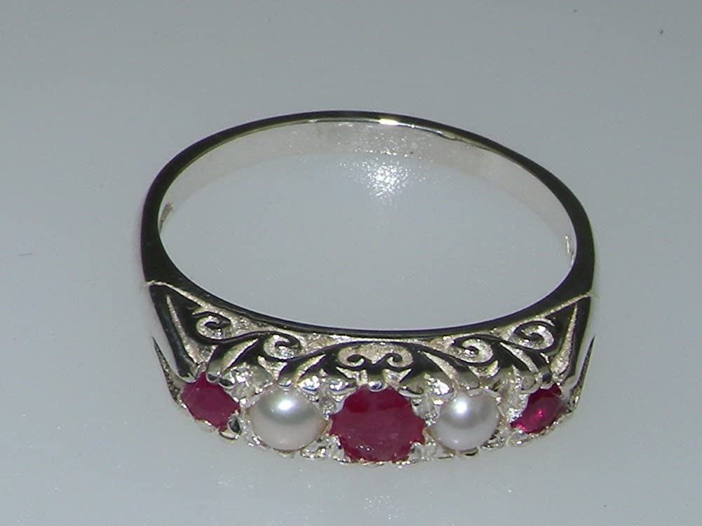 925 Sterling Silver Real Genuine Ruby and Cultured Pearl Womens Band Ring