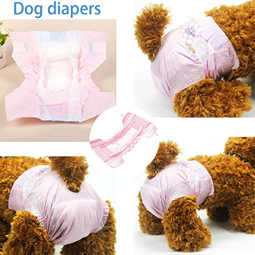 Image of DONO Disposable Pet Diapers for Female Dogs Super Absorbent and Soft Heating and Pee Liners M, Including 14 Puppy Diapers for Dogs and Cats