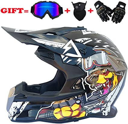 Cheyal Adult Motocross Helm Mx Motorradhelm Atv Scooter Atv Helm D O T Zertifiziert Rockstar Multicolor Mit Brillen Handschuhe Maske S M L Xl S Sport Freizeit