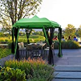 Quictent Hexagon Metal Gazebo Screened Gazebo Canopy Waterproof Backyard Shelter 8.7 ft Height Green