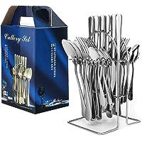 peinat Bestekset voor 6 personen, 24 stuks roestvrij staal, spiegelgepolijst, incl. mes, vork, lepel, theelepel…