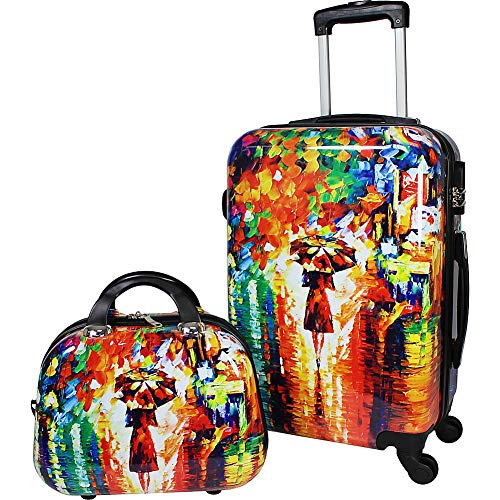 World Traveler 2-Piece Carry-on Hardside Spinner Luggage Set-Paris Nights