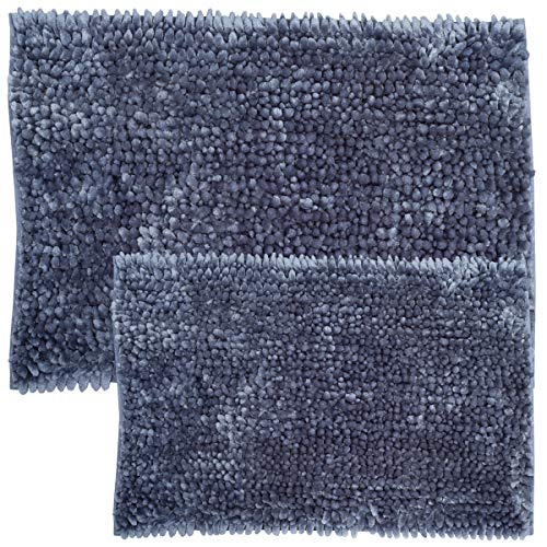 - Sweet Home Collection Bathroom Rugs Set 2 Piece Butter Chenille Noodle Soft Luxurious Absorbent Non Slip Latex Back Microfiber Bath Mat Steel Blue