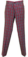 Relco Burgundy Tartan Check Slim Fit Sta-Press Mod/Golf/Retro Trousers …